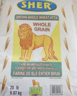 Atta-Sher-Brown Whole Wheat 20lb- 9.07Kg